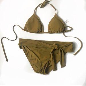Gap body tie front  olive brown bikini set